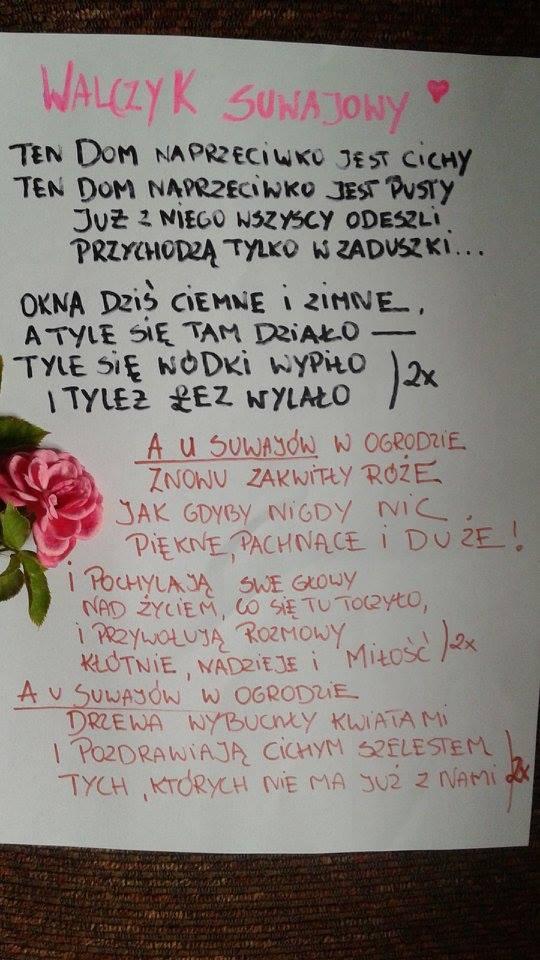 """Rękopis tekstu piosenki """"Walczyk Suwajowy"""""""